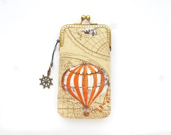 Hot Air Balloon iPhone case fabric gadget case iPhone sleeve / Glasses Case brown (iPhone 7, iPhone 7 Plus, Samsung Galaxy S7 etc. )