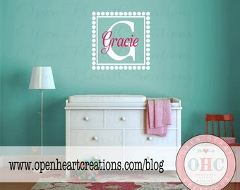 Name Wall Decal with Square Frame and Polka Dot Border - Baby Nursery Girl Boy Wall Stickers FN0128
