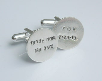 Personalized Cuff Links Cufflinks - To The Moon And Back For Groom on Wedding Day