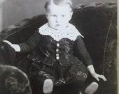 Bashful Little Boy in Plaid Dress - Lace - Chair - Antique Cabinet Photo - Trenton, ONT