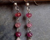 Long Faceted Rose Quartz and Pink Tourmaline Stering Silver Earrings