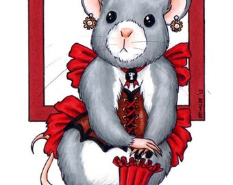 "Cheesepunk  ""Esmina"" Limited Edition Print - MATTED red - Steampunk Mouse"