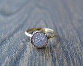 Gorgeous Dainty Lavender Druzy Agate Stacking Ring