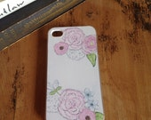 Watercolor painted floral IPhone case 4/4s and 5