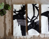 Antler Animal Tea Towel Bundle, Antler Animal Kitchen Towel, Antler Animal Dishcloth, Moose, Caribou, Deer, Outdoor Decor, Kitchen Decor