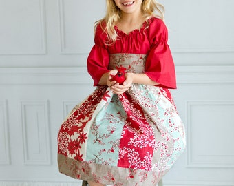 "Gorgeous ""Holiday Cheer"" Peasant Dress - Girls - Winter - Christmas - Holly - Poinsettias - Red, Mint & Brown - Santa Photos - Celebration"