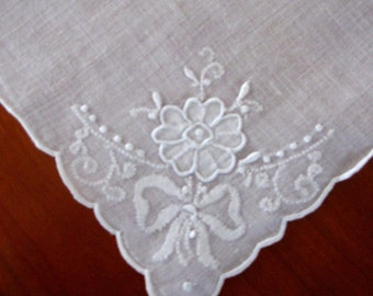 Vintage Linen Handkerchief White Work White on White Floral Hand Made Embroidered