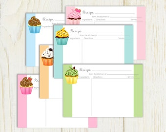 Cupcake Recipe Cards printable 4x6 Type & Print No 878
