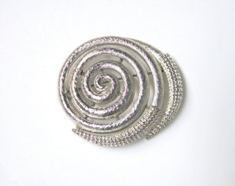 Monet Spiral Brooch,Vintage silver pin, retro, signed Monet, circle pin bling, nautilus, costume jewelry, SilverStonesConcepts