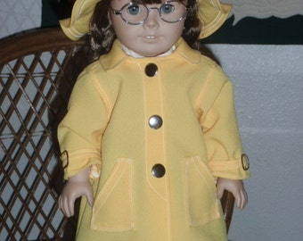 1940s Slicker Raincoat and Hat for American Girl Molly Emily 18 inch doll