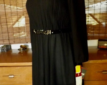 Vintage 70s Deadstock  Knifepleat Sequin Disco Dress LBD L  Free Shipping