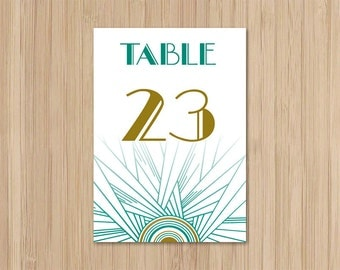 Instant Download - Gatsby Wedding - Table Numbers - Art Deco Wedding - Jazz Age - Emerald and Gold