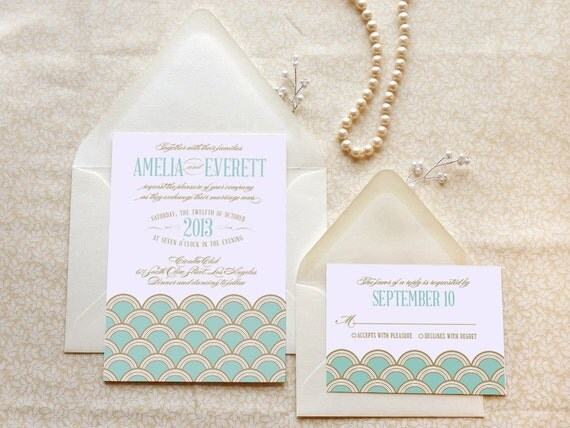 mint and gold scallops art deco wedding invitations gatsby,