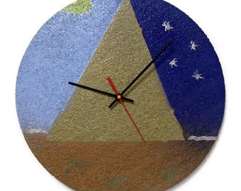 Pyramid Wall Clock - Unique Wall Decor - Blue and Gold - Starry Night - Cork Clock - Egypt