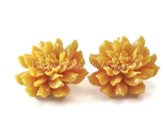 Golden Orange Dahlia Chrysanthemum Spring Flower Clip On Earrings
