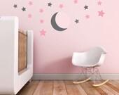 Moon Wall Decal, Stars Wall Decal, Baby Nursery Wall Decal in Custom Colors. Moon and Stars Wall Decal