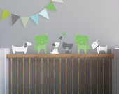 Dog Wall Decal, Kids Wall Decal, Cats Wall Decal, Green Cat, White Dogs. Cats and Dogs Children Wall Decal