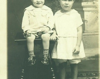 RPPC Mary and Joe Shelton Toddler Boy Girl Brother Sister 1930s Real Photo Postcard Antique Vintage Black White Photo Photograph