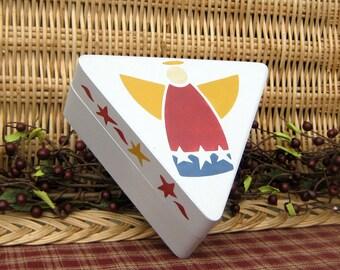 Angel Box, Painted Wood Box, Triangle Box, Primitive, Folk Art, Angel, Trinket Box, Jewelry Box, Patriotic, Gray, Red, Blue, Mustard Yellow