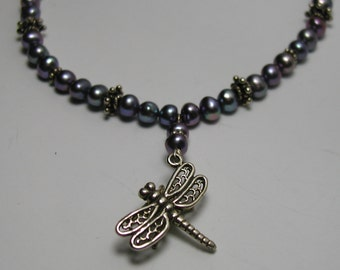 Sterling Silver Dragonfly Pearl Necklace Blue Purple 17 Inch Toggle Clasp 925 Pendant