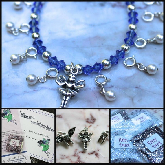Sapphire/ September Birthstone Tooth Fairy Bracelet Ensemble. Made To Order