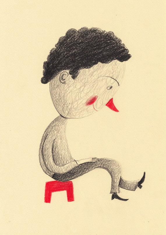 Red Chair / ORIGINAL ILLUSTRATION / Red nose / Yellow background / Colored pencil drawings / Boy sitting / Children illustration