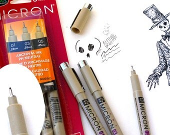 Drawing pens, Micron pens, Pen and ink, set of 3 pens, Archival scrapbook pens, PH Neutral, Black ink pens, waterproof ink pens,