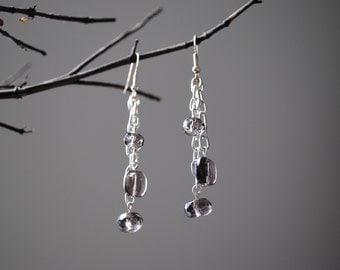 Smokey glass bead earrings
