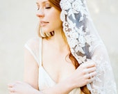 Wedding Veil, Ivory and Champagne Lace Bridal Mantilla Veil, Hip Length - Style 312