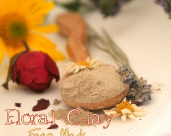 Organic Floral Clay Mask - vegan facial detoxifying mask with herbs - skin softening and nourishing SAMPLE size