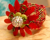 Red and Green Olive Flower Bracelet