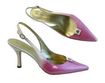 Reserved for DONNA Only Pink Champagne Ombre Sling Back Heels Anne Klein with Embellishments // Size 8 1/2 M US // 31/2 Inch Heel // Wedding