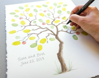 Wedding Guest Book SMALL APPLE Tree Thumbprint Tree 11 x 14 up to 50 guests