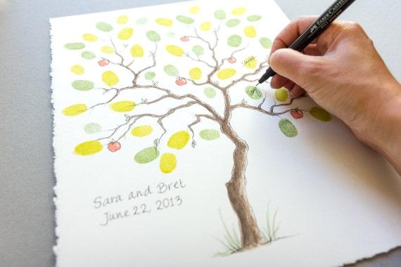 mariage guest book petit apple tree empreinte arbre 11 x 14. Black Bedroom Furniture Sets. Home Design Ideas