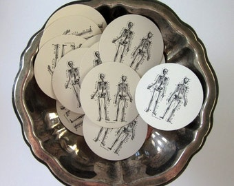 Skeleton Tags Round Paper Gift Tags Set of 10