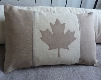 hand printed muted taupe Canadian flag cushion cover
