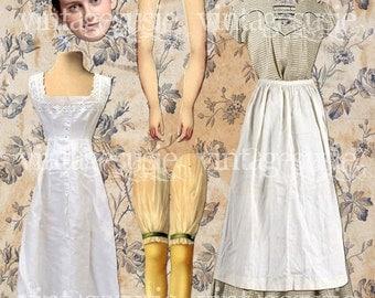 Vintage Edwardian Art Paperdoll Collage Sheet 'DAISY'  DOWNTON ABBEY Digital Download
