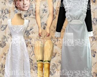 Vintage Edwardian Art Paperdoll Collage Sheet 'ANNA'  DOWNTON ABBEY Digital Download