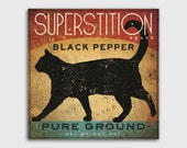 BLACK CAT Pepper Stretched Canvas Wall Art Ready to Hang Signed 8x8x1.5 up to 40x40x1.5