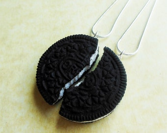 polymer clay cookie best friend friendship necklaces bff necklaces