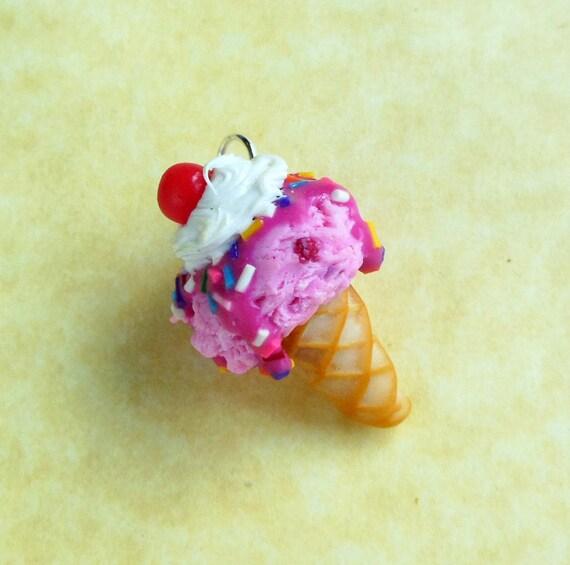 strawberry rainbow sprinkle ice cream cone polymer clay charm or keychain