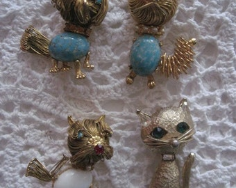 Lot of 3 Jelly Belly - Filigree Brooches from 1950's plus a cat
