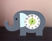 elephant nursery elephant clock wooden elephant  nursery decor wooden wall clock elephant wall art nursery clock children's clock safari
