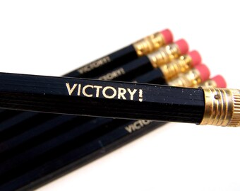6 PENCILS - black victory GRAPHITE hex funny back to school pencil set with gold text and a hand-stamped pencil box