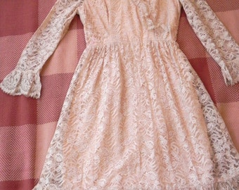 Vintage 60s Lace Dress - 1960s Cream Tea Ethereal Lolita dress S M - on sale