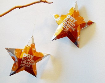 Dry Blood Orange Soda Stars Christmas Ornaments Soda Can Upcycled