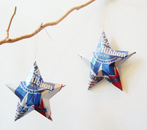 Pabst Blue Ribbon Beer Stars Christmas Ornaments , Set of 2, Aluminum Can Upcycled PBR