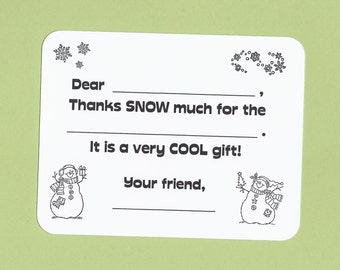 Color Your Own - Fill in the Blank Christmas Thank You Cards for Kids - Color a Snowman - Thank You Notes