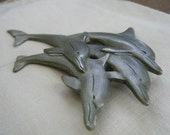 Pewter Dolphins Brooch Spoontiques 3918
