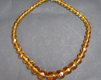 Vintage Amber Faceted Crystals Necklace